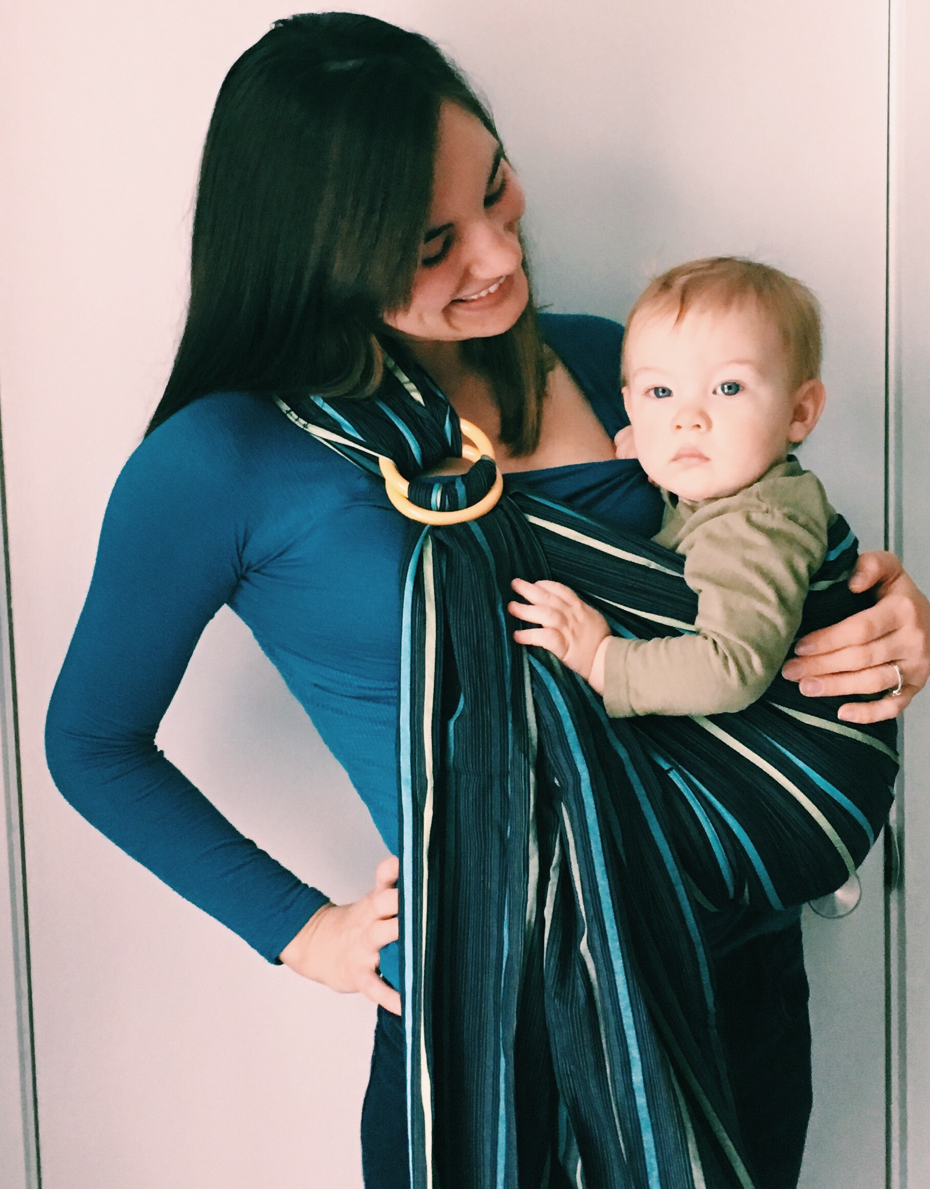 A good baby carrier is ESSENTIAL when second baby comes around. We love our #mamaway ring sling!