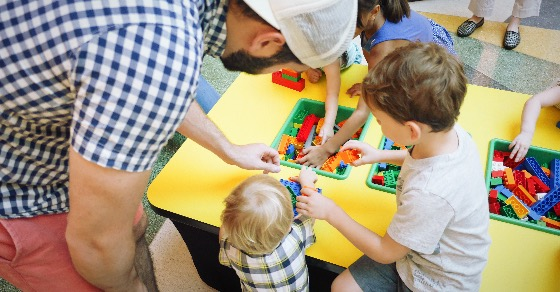 Kids can build their own masterpieces in the LEGO play area!