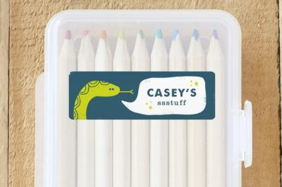 Keep track of your kiddo's school supplies with personalized name labels!